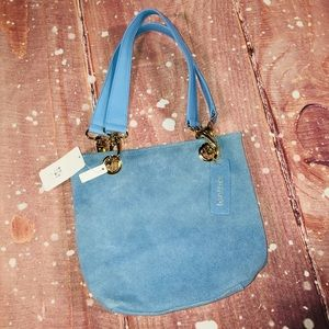NWT 💙 Apt. 9 Blue Leather Suede Shoulder Purse